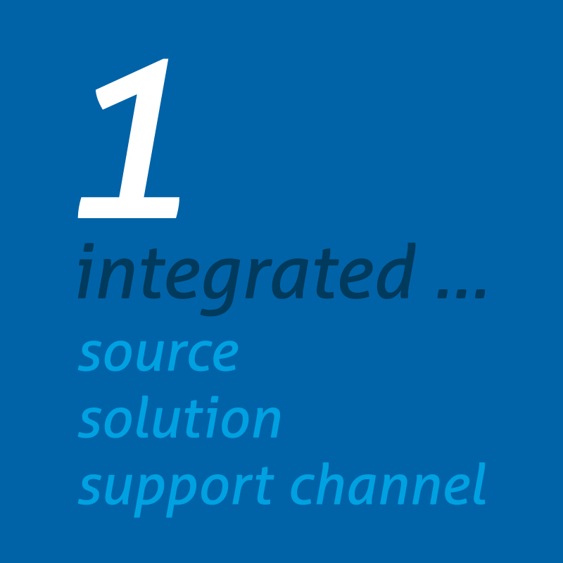 1 integrated source, solution, support channel graphic image in blue and white