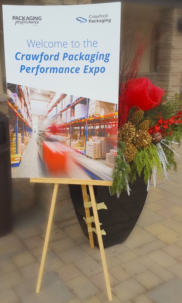 Crawford Packaging Performance Expo Sign At Building