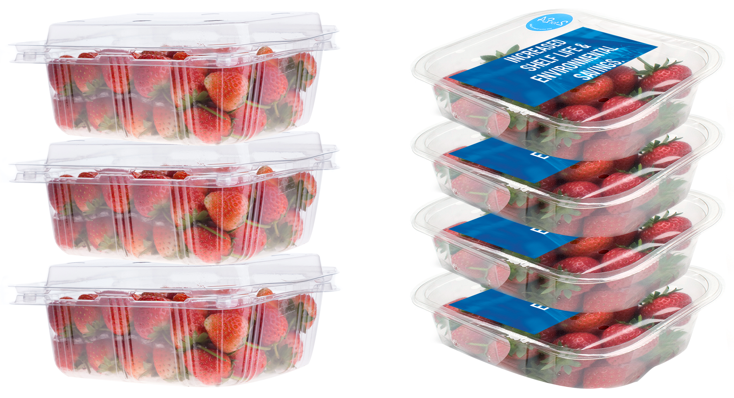 Strawberries packaged in clam shells vs. Strawberries packaged in top seal packaging
