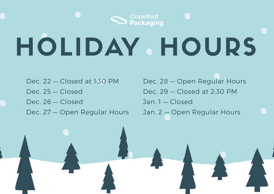 2017 Holiday Hours Crawford Packaging