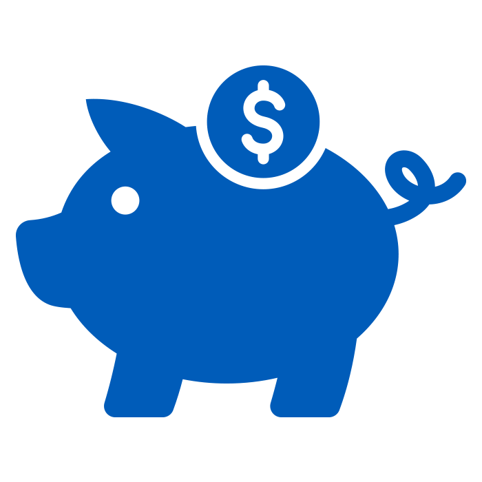 Blue Icon of Piggy Bank to Represent Reduced Labour Costs