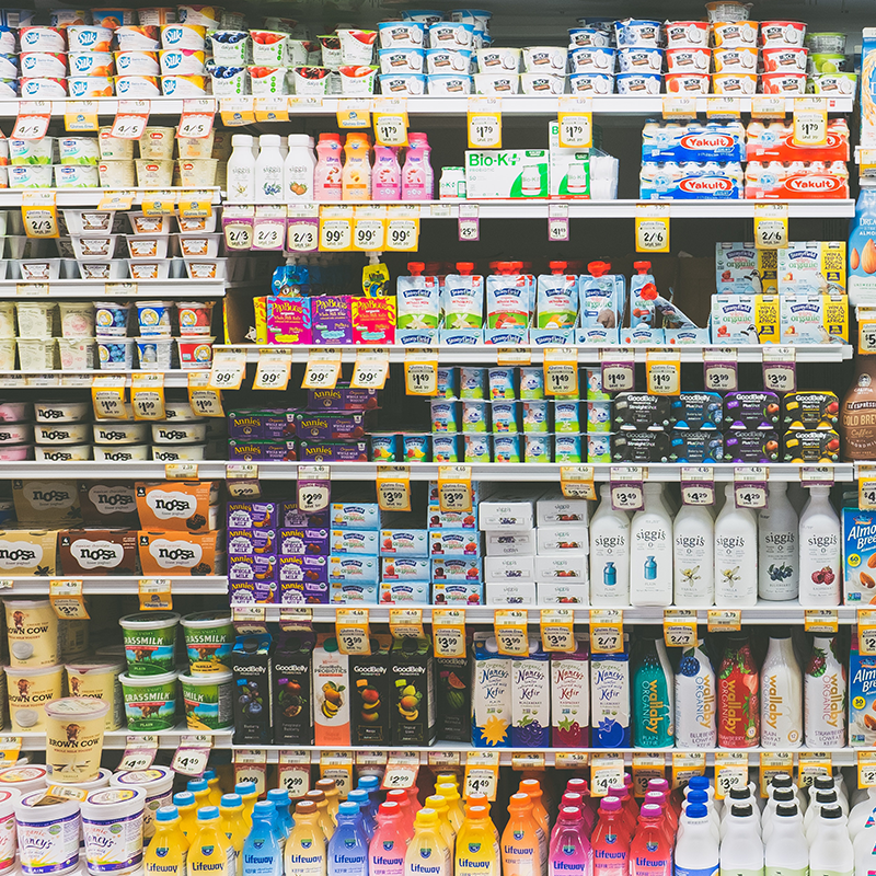 dairy products on supermarket shelves