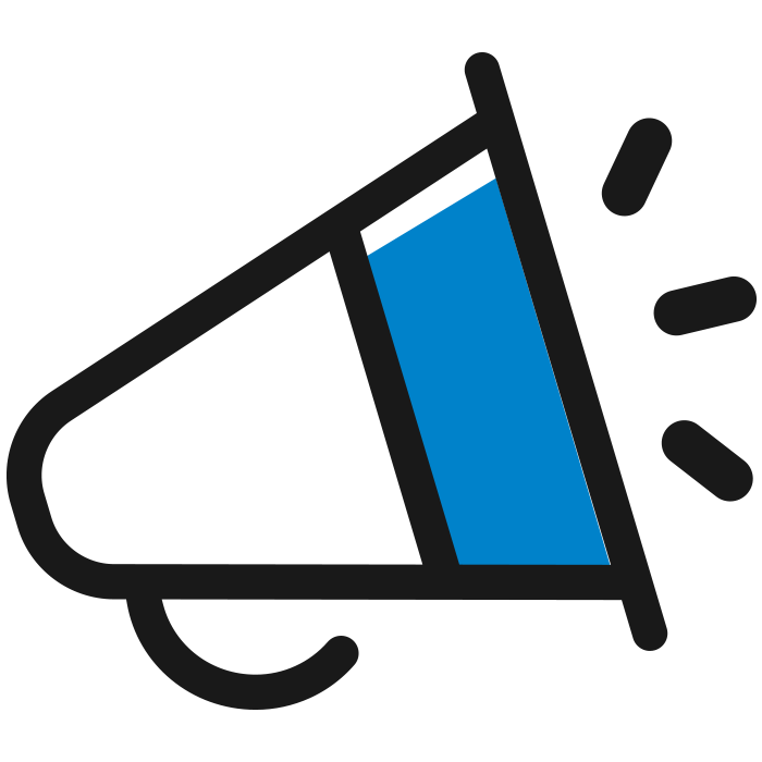 Blue Megaphone Icon to Represent Increasing Shelf Impact