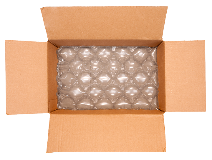 Bubble wrap in cardboard box ready for packaging