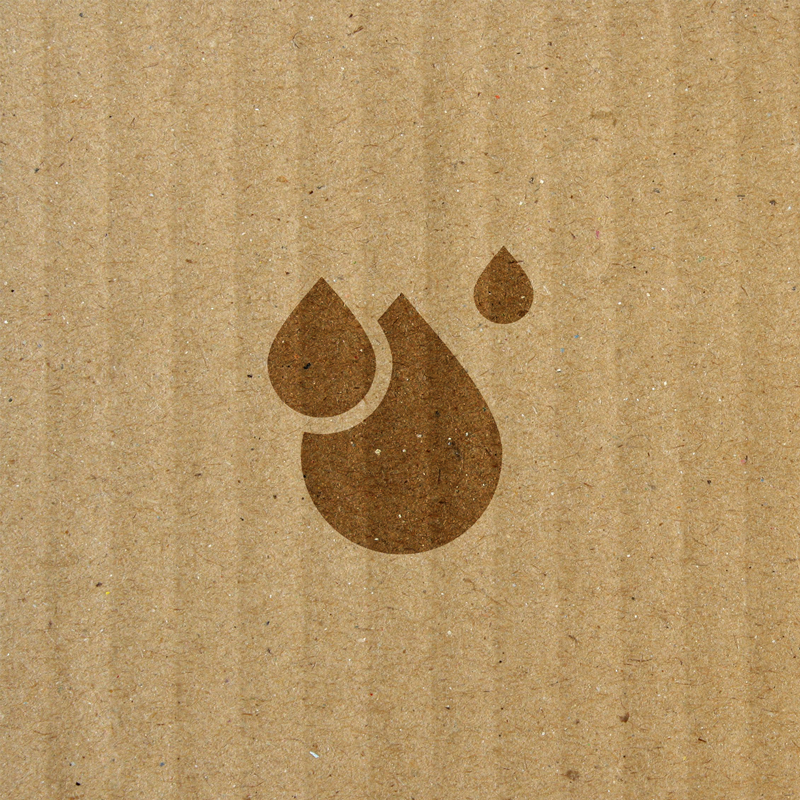 water drop icon overlaying cardboard box texture
