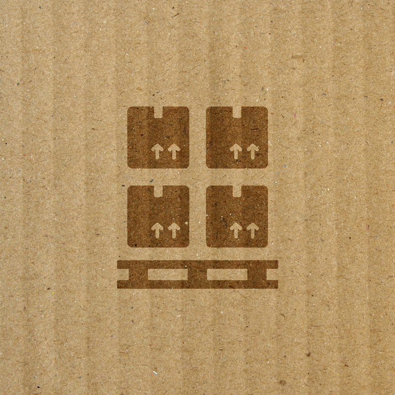 icon of packaged pallet over top of cardboard box texture background