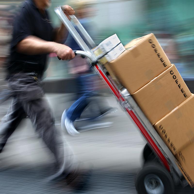 man delivering packages to destination