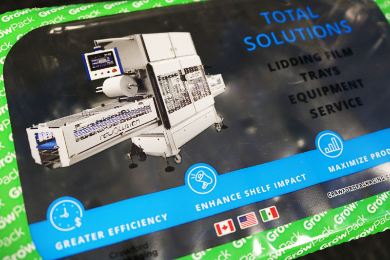 GrowPack Lidding Film with Bright Blue and Green Colours and Top Sealer Machine Graphic Image