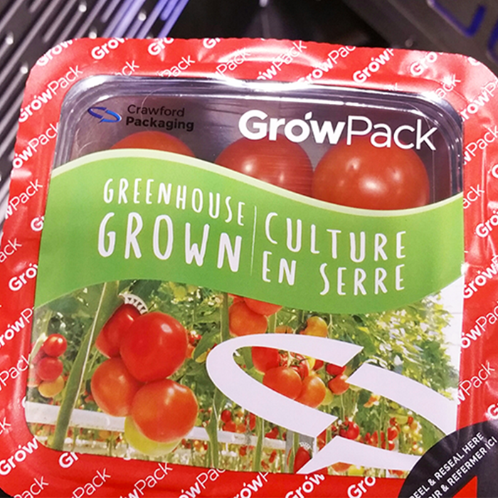 GrowPack Lidding Film with bright red and green colouring on the film and cherry tomatoes in the container
