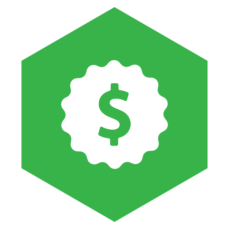 green buy it right pillar icon with white money symbol
