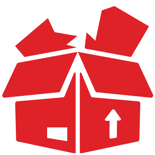 icon of product damaged in cardboard box coloured in red
