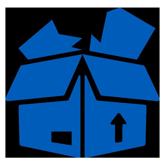 icon of soild blue cardboard box with damaged product inside