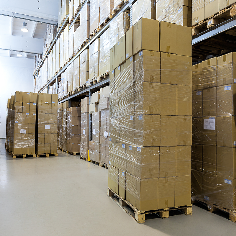 pallets in warehouse packed with stretch film wrap