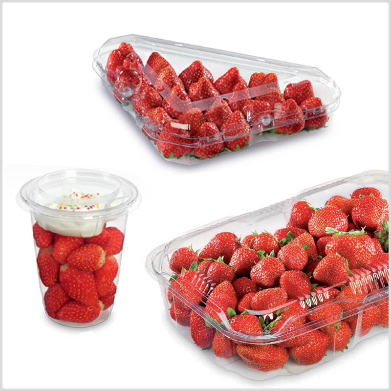 strawberries packed in various on the go growpack produce packaging containers