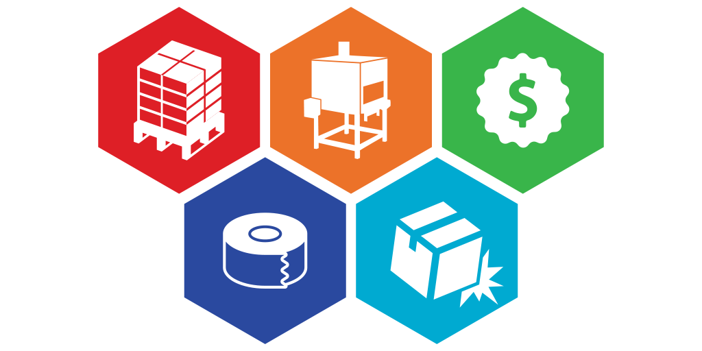 the hexagon icon set of crawford packaging's pillars in multiple colours