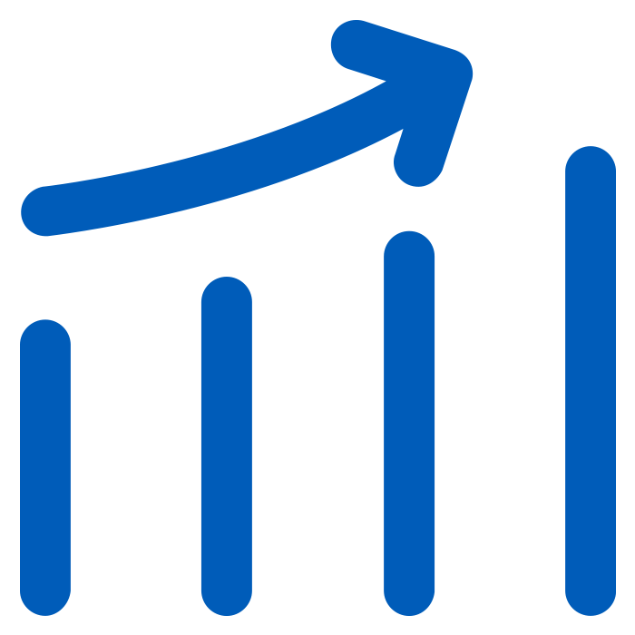 solid blue icon of a line graph increasing with an up arrow