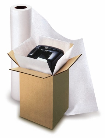 product inside cardboard box being packaged with polyfoam roll packaging material