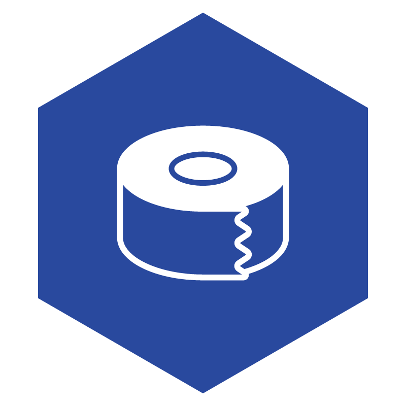 solid blue hexagon with an icon of a white roll of packaging tape in the middle