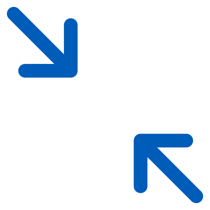 icon of two arrows coloured in solid blue pointing inwards on white background