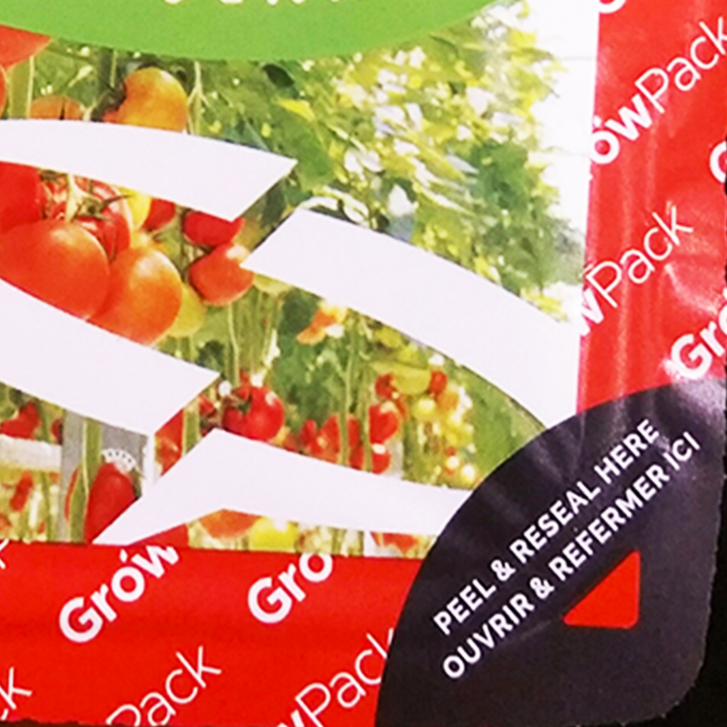 peel and reseal label on red growpack top seal packaging film