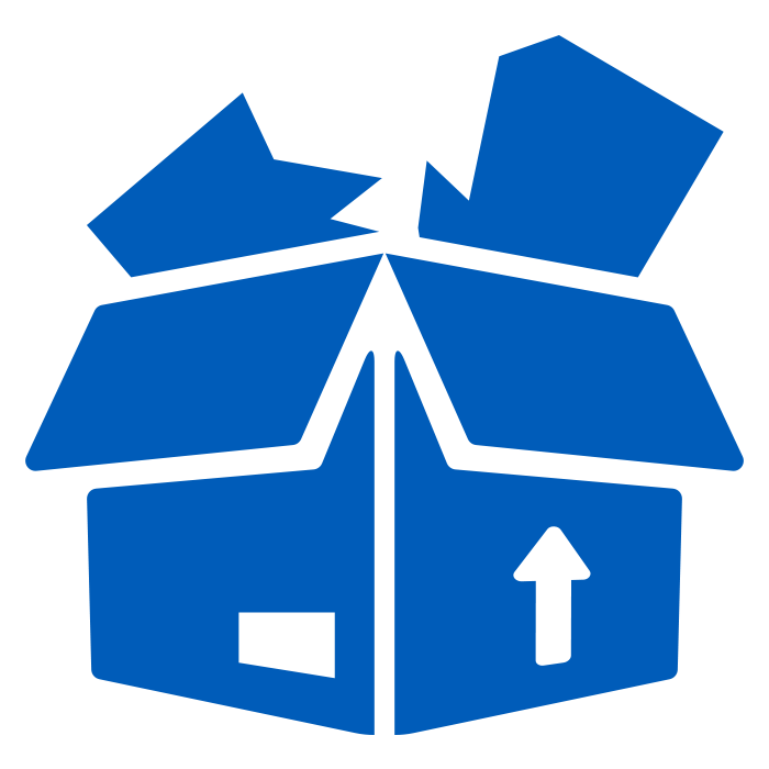 solid blue icon of a damaged product inside a cardboard shipping box