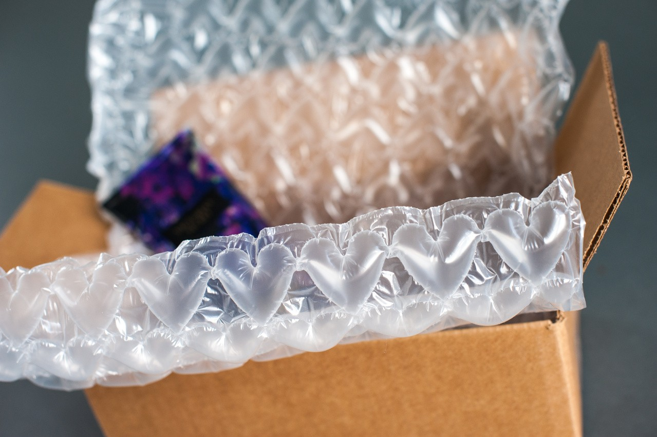 sealed air bubble wrap ib expressions in heart pattern inside cardboard box