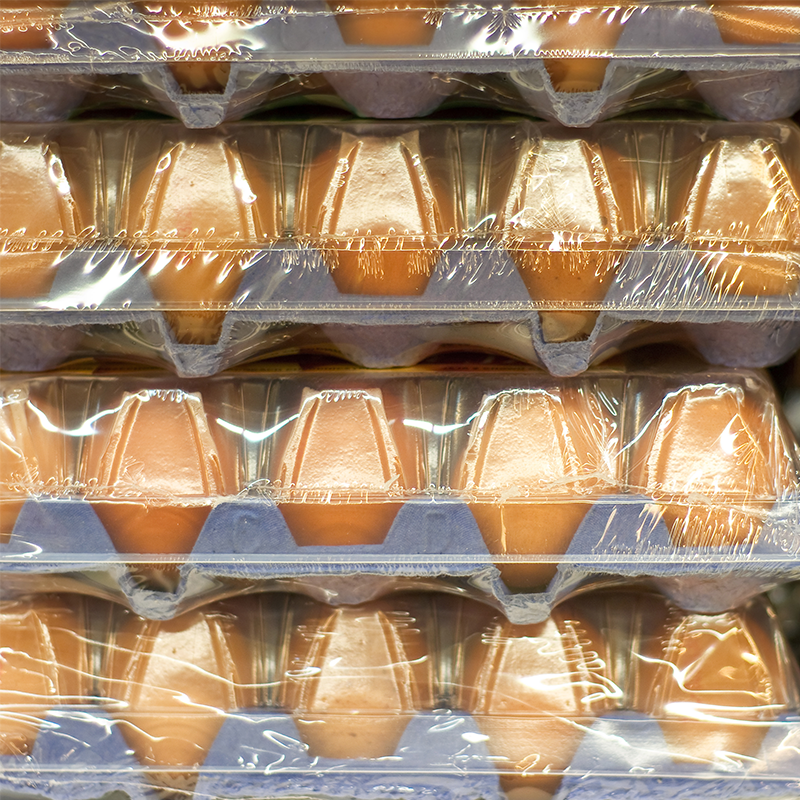 shrink wrapped packed of fresh chicken eggs