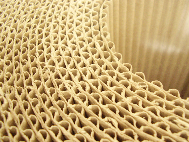 close up of a roll of currogated cardboard paper roll