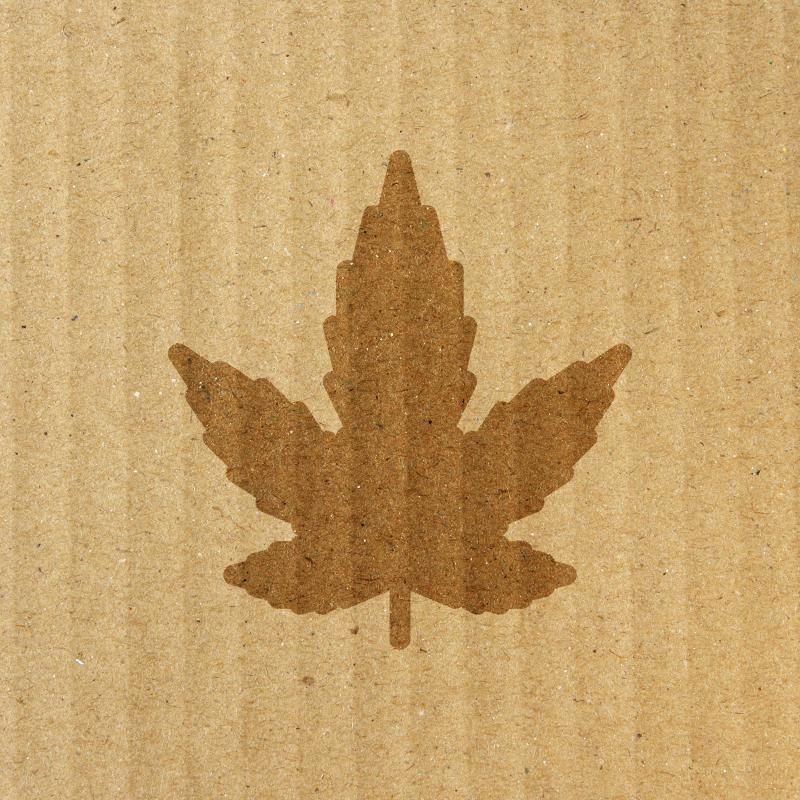corrugated cardboard texture with cannabis leaf imprint