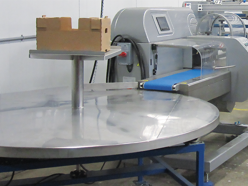 collection table attached to rgd mape vr-8 master flow wrap machine