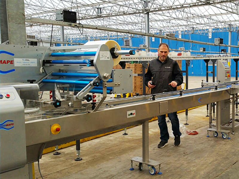 crawford service technician installing rgd mape vr8 flow wrap machine in greenhouse facility