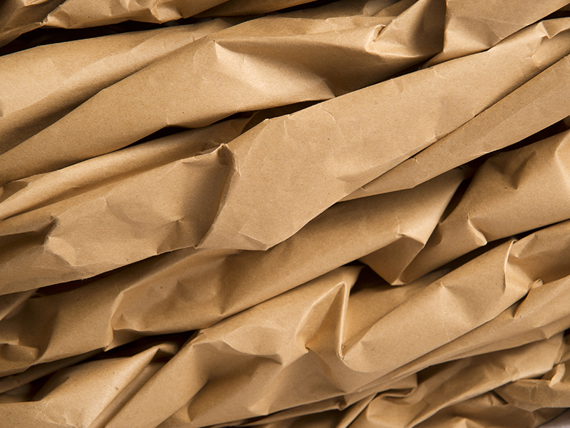 close up of kraft paper packaging