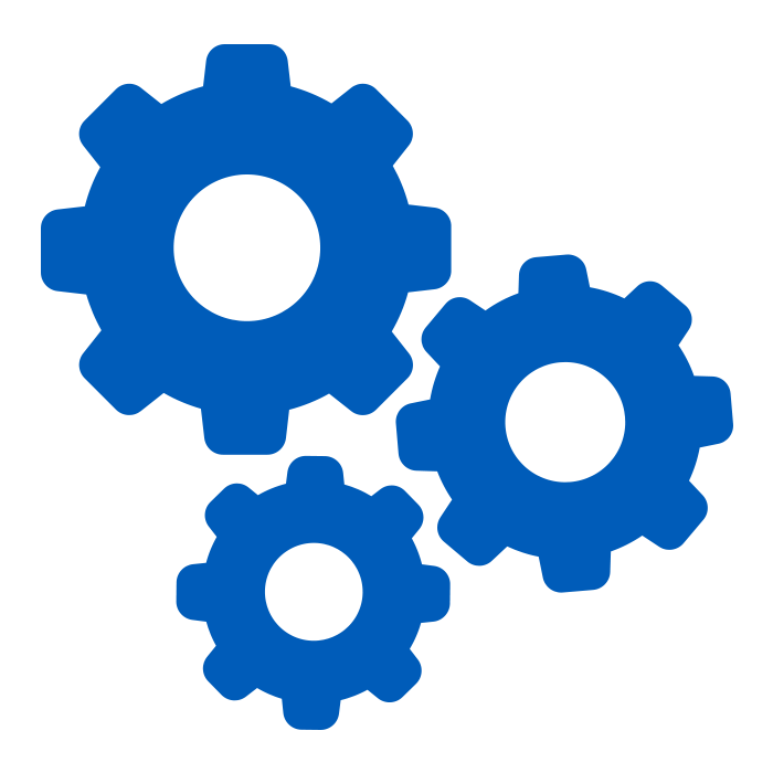 icon of three machine gears in blue