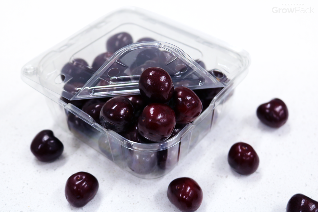 red cherries in clear growpack easy pour clamshell packaging