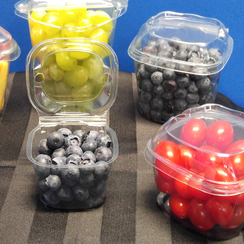 fruit in clear plastic snack packaging clamshells on display
