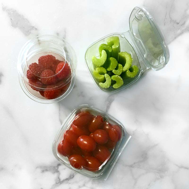 raspberries celery and tomatoes packaged in growpack snack packaging clamshells