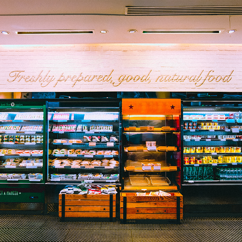 grocery shelves with healthy food options