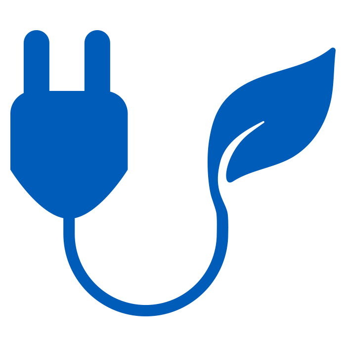 icon of blue plug with leaf
