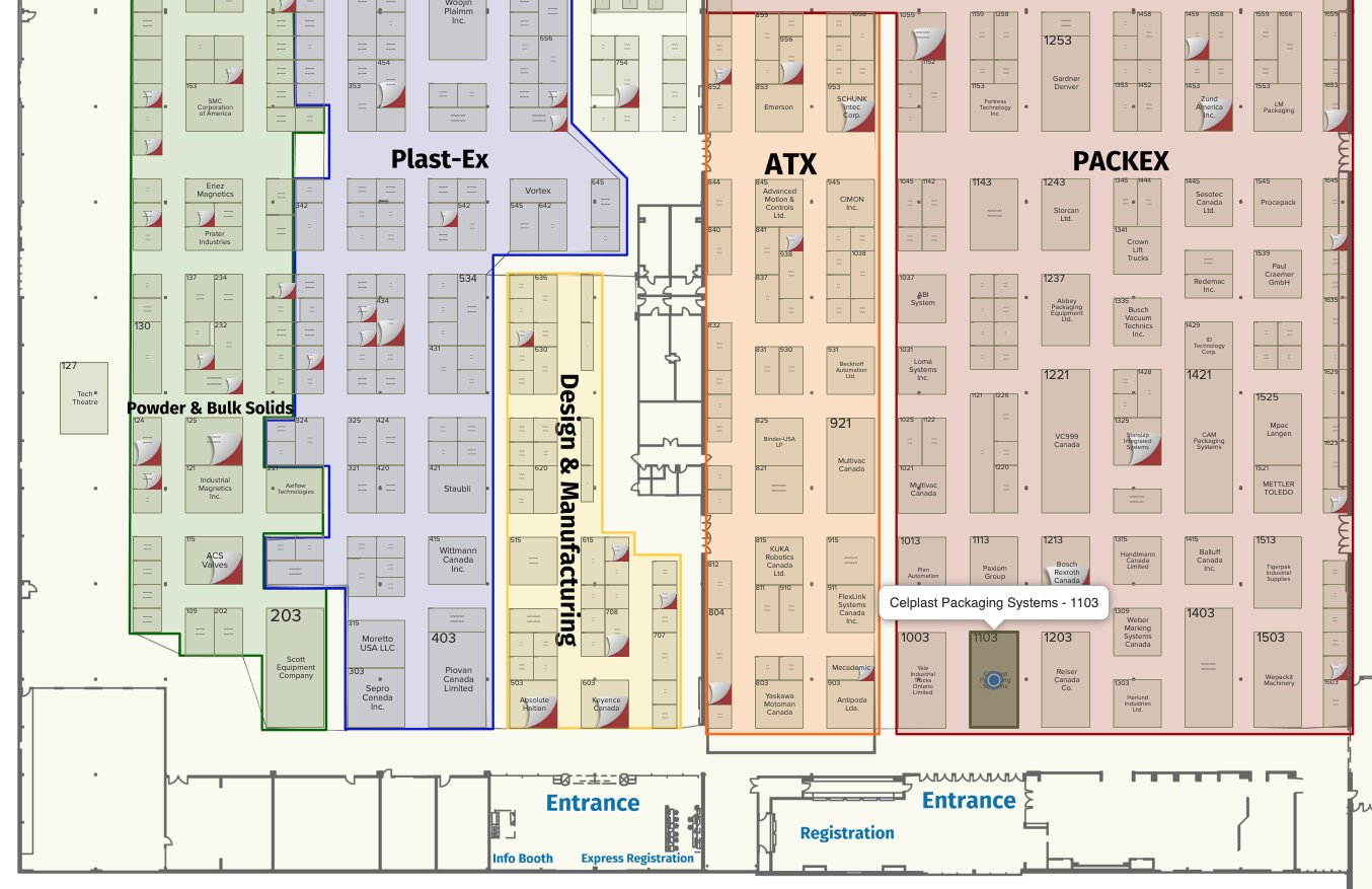 PackEx Toronto Floor Plan Celplast Packaging Systems Booth 1103