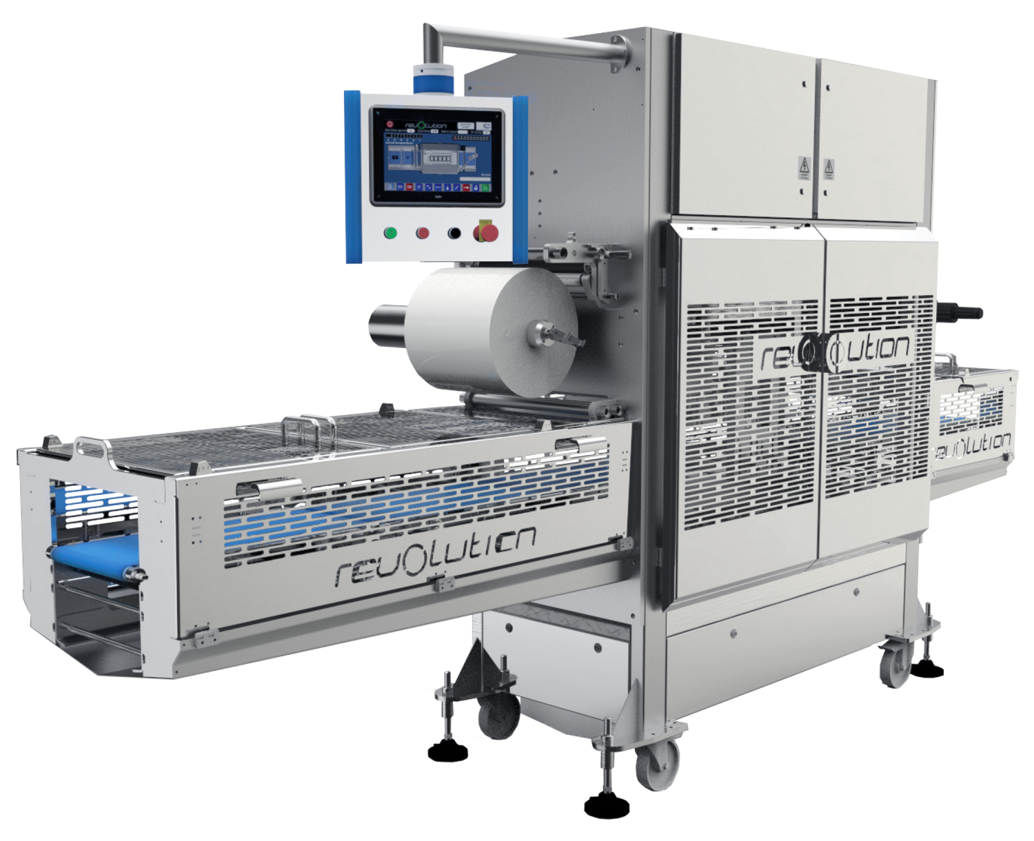 Packaging Automation's Revolution is a fully automatic tray sealing machine.