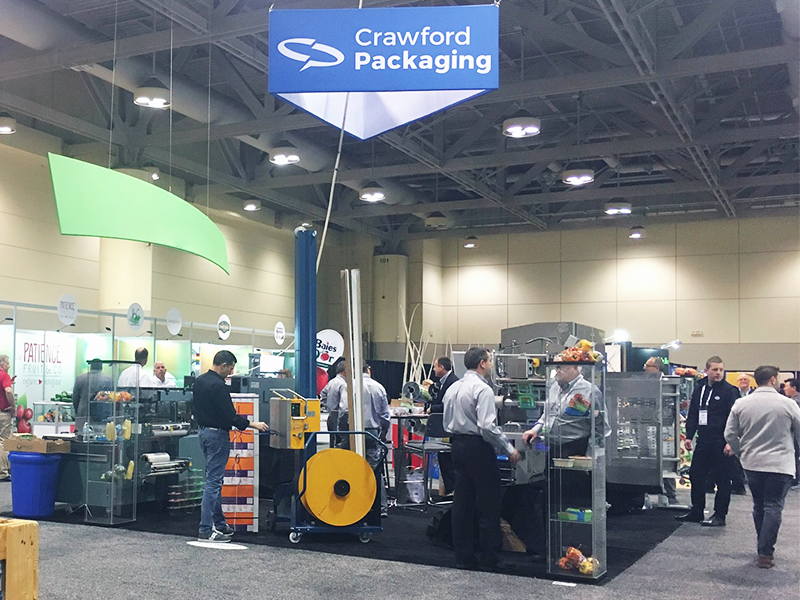 crawford packaging cpma 2018 booth with packaging machines