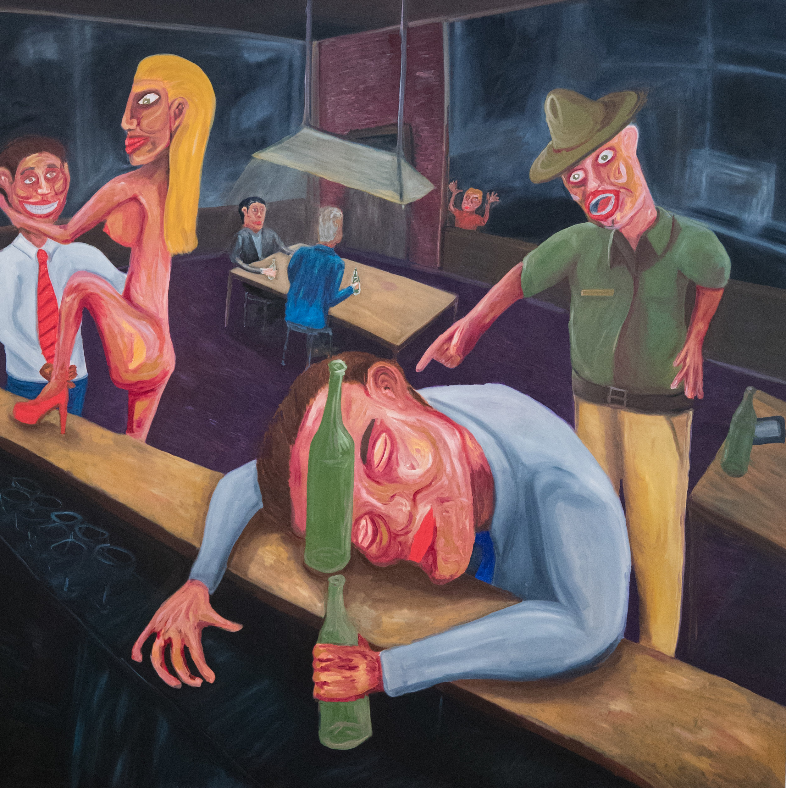 """How to Develop a He-Man Personality,  96"""" x 96"""", Oil on Canvas, 2017"""