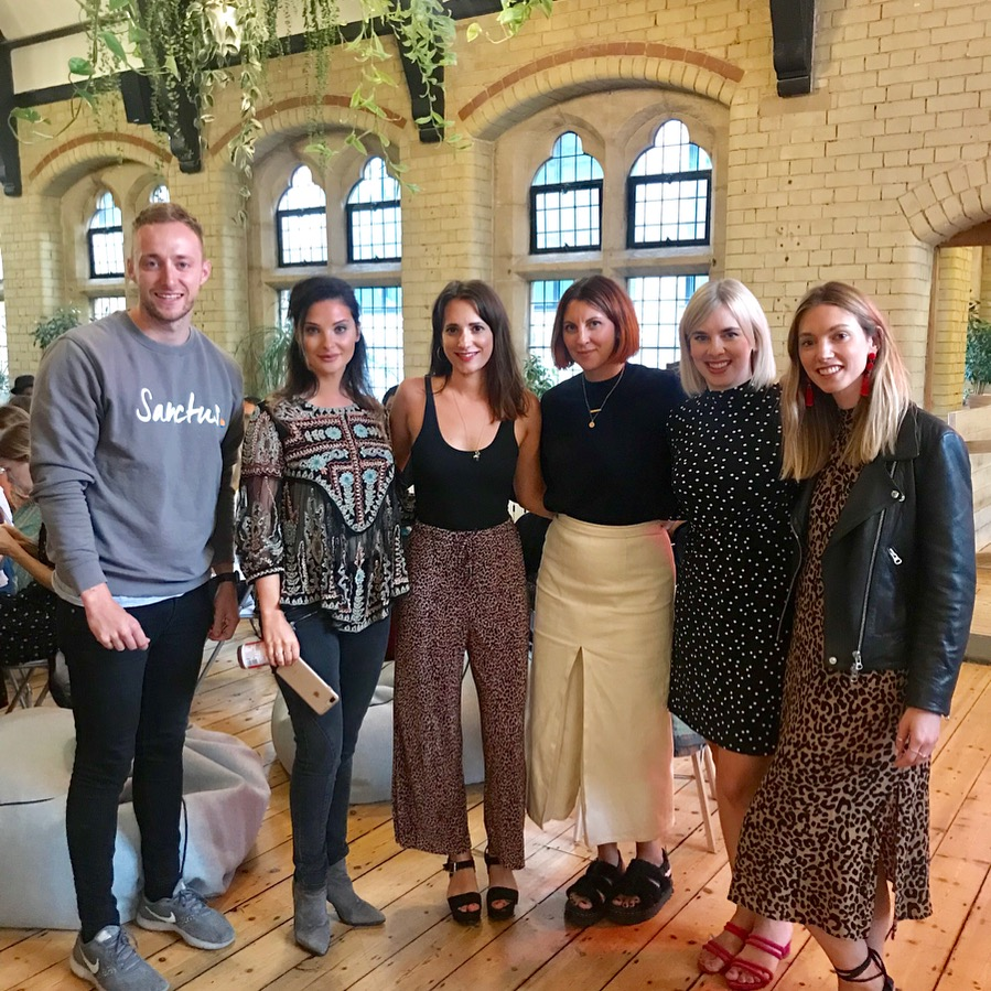 (L-R) George Bettany, co-founder of Sanctus, Sophie Scott, founder & editor of Balance magazine, Helen Morris, founder of Samsara Communications, Pandora Symes, founder of Rooted London, Vanessa Woodgate & Kat Scott of Brunch N Grind.