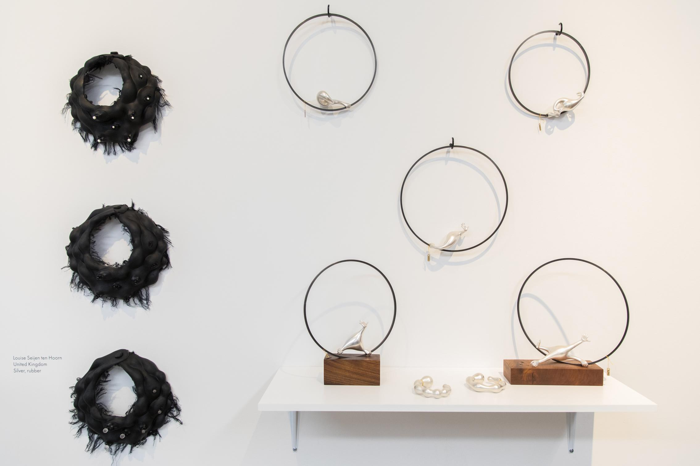 My Booth - I showed two collections: on the left there are necklaces made with black rubber and on the right are the steel and silver pieces from the Equilibrium Collection