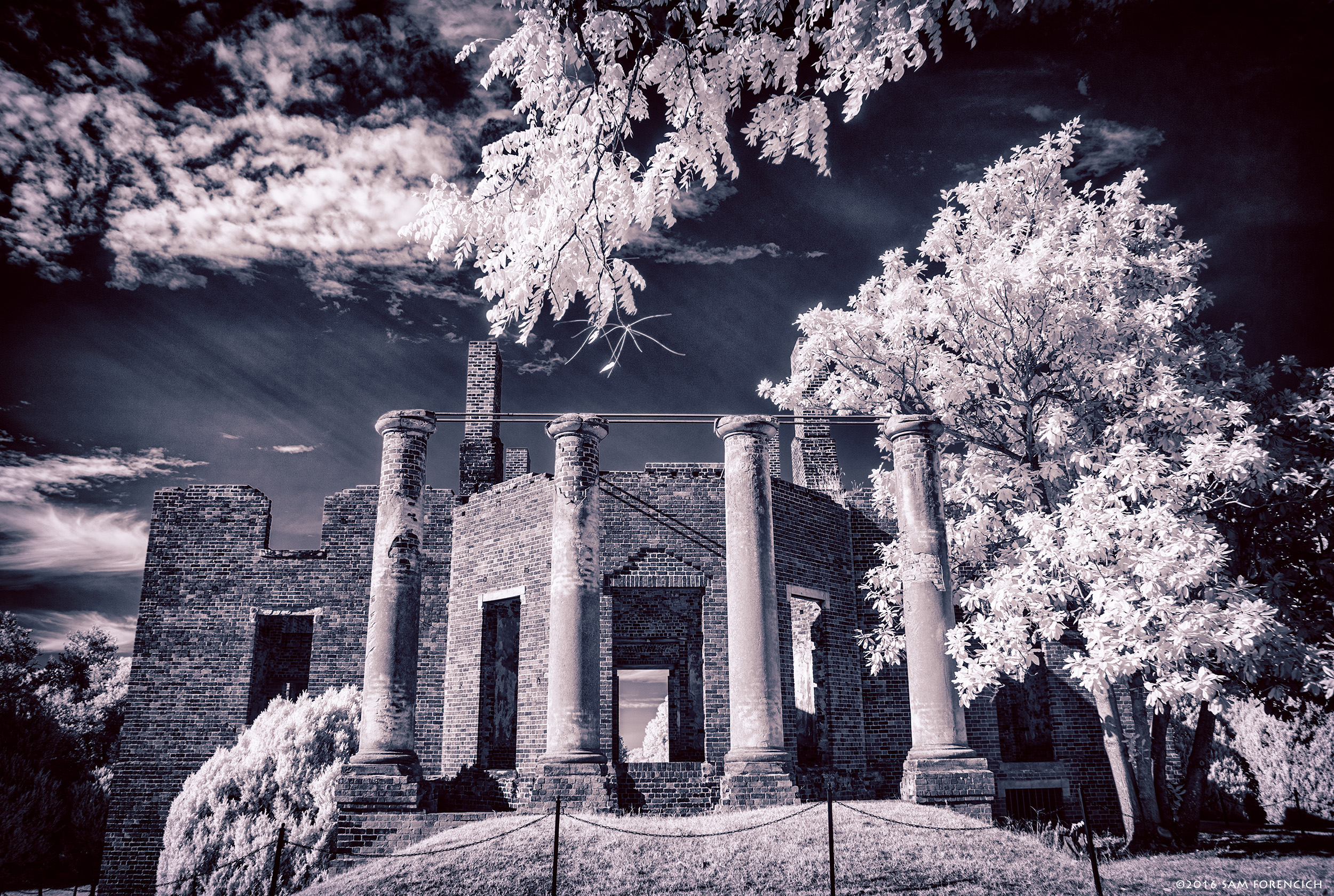 The brick columns and shell of the Barboursville Ruins in Orange County, Virginia are all that remain of the home of former Virginia Governor James Barbour. The home, designed by Thomas Jefferson, was built in 1822 and gutted by a Christmas day fire in 1884. IR converted Nikon D750, HDR post processing.  © 2016 Sam Forencich