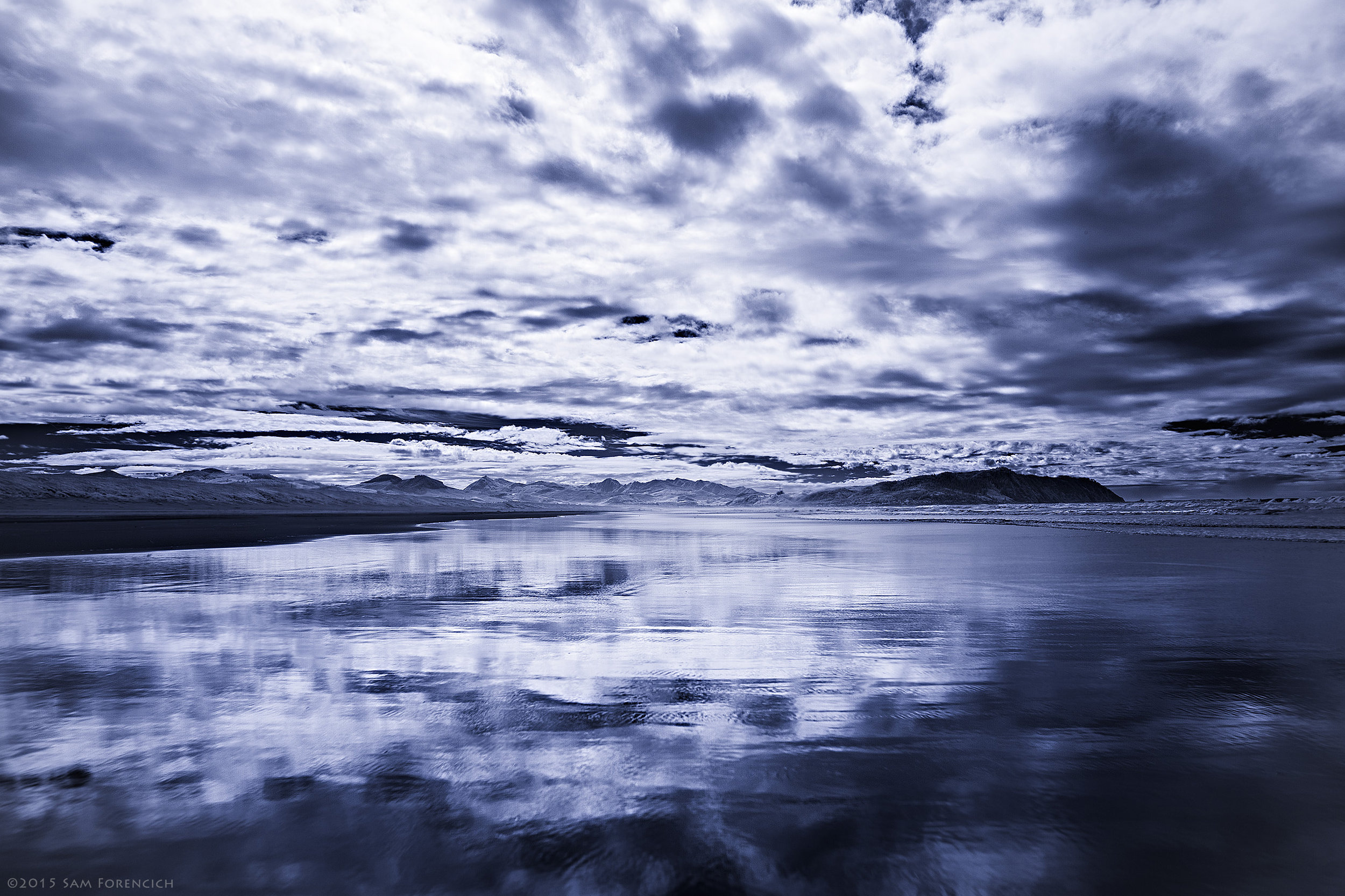 Deep infrard reflections along the surf near Seaside, Oregon. IR converted Canon 5D MII. © 2016 Sam Forencich