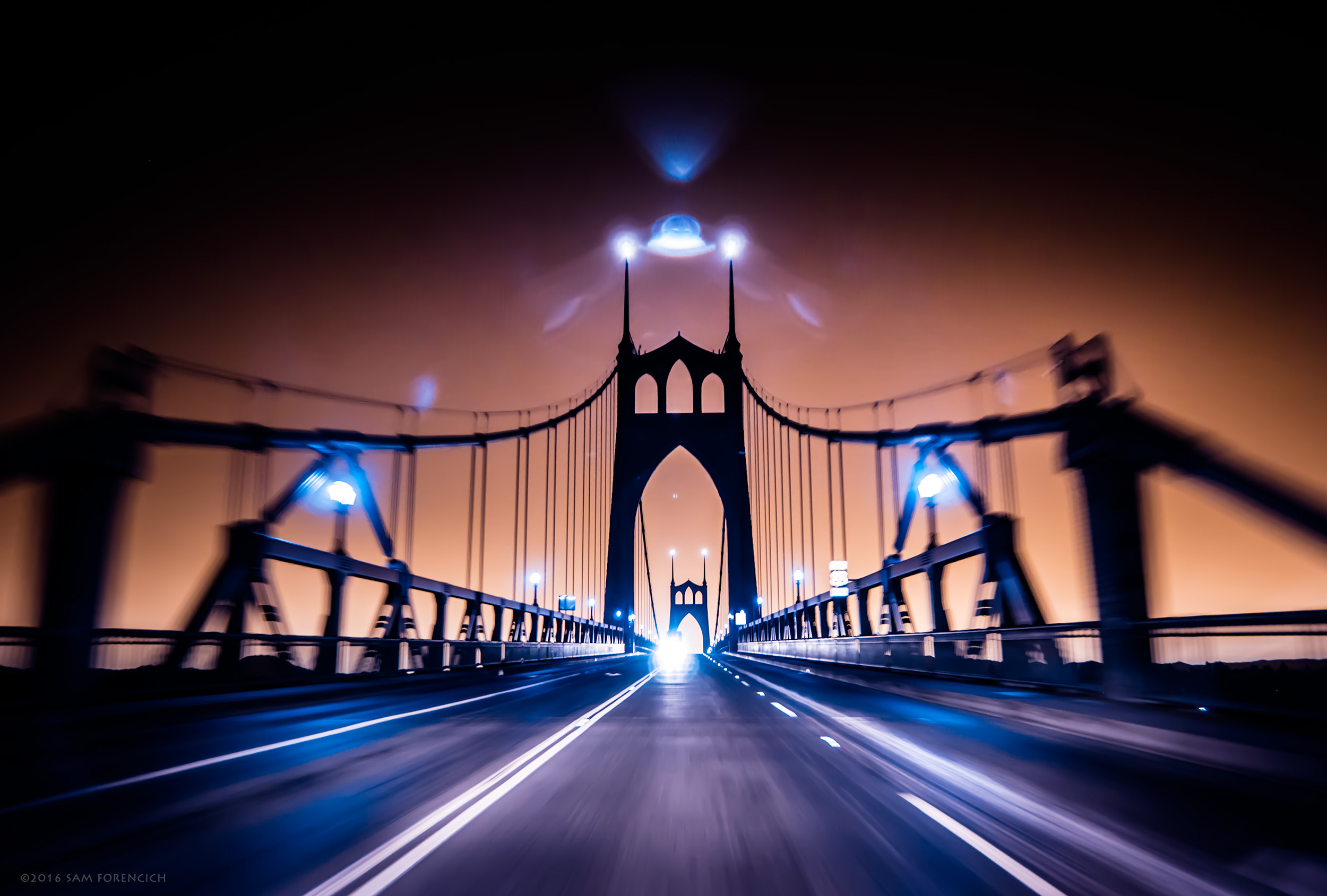 Early morning eastbound commute on the St. Johns Bridge in Portland, Oregon. IR converted Nikon D750. © 2016 Sam Forencich