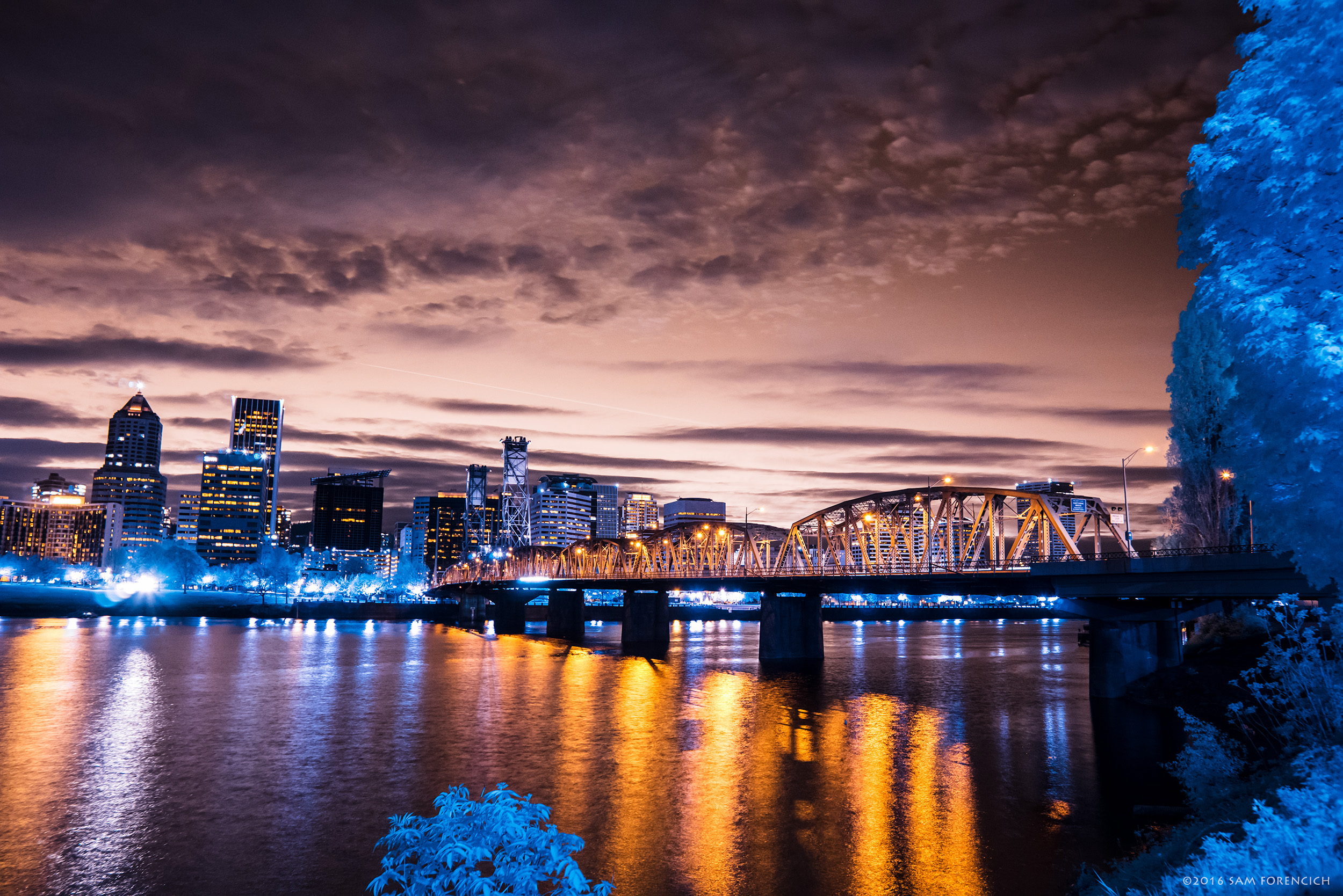 One of 11 bridges spanning the Willamette River in Portland, Oregon, the Hawthorne Bridge is a major crossing into downtown Portland. Still image from Invisible Oregon time-lapse sequence. IR converted Nikon D750. © 2016 Sam Forencich