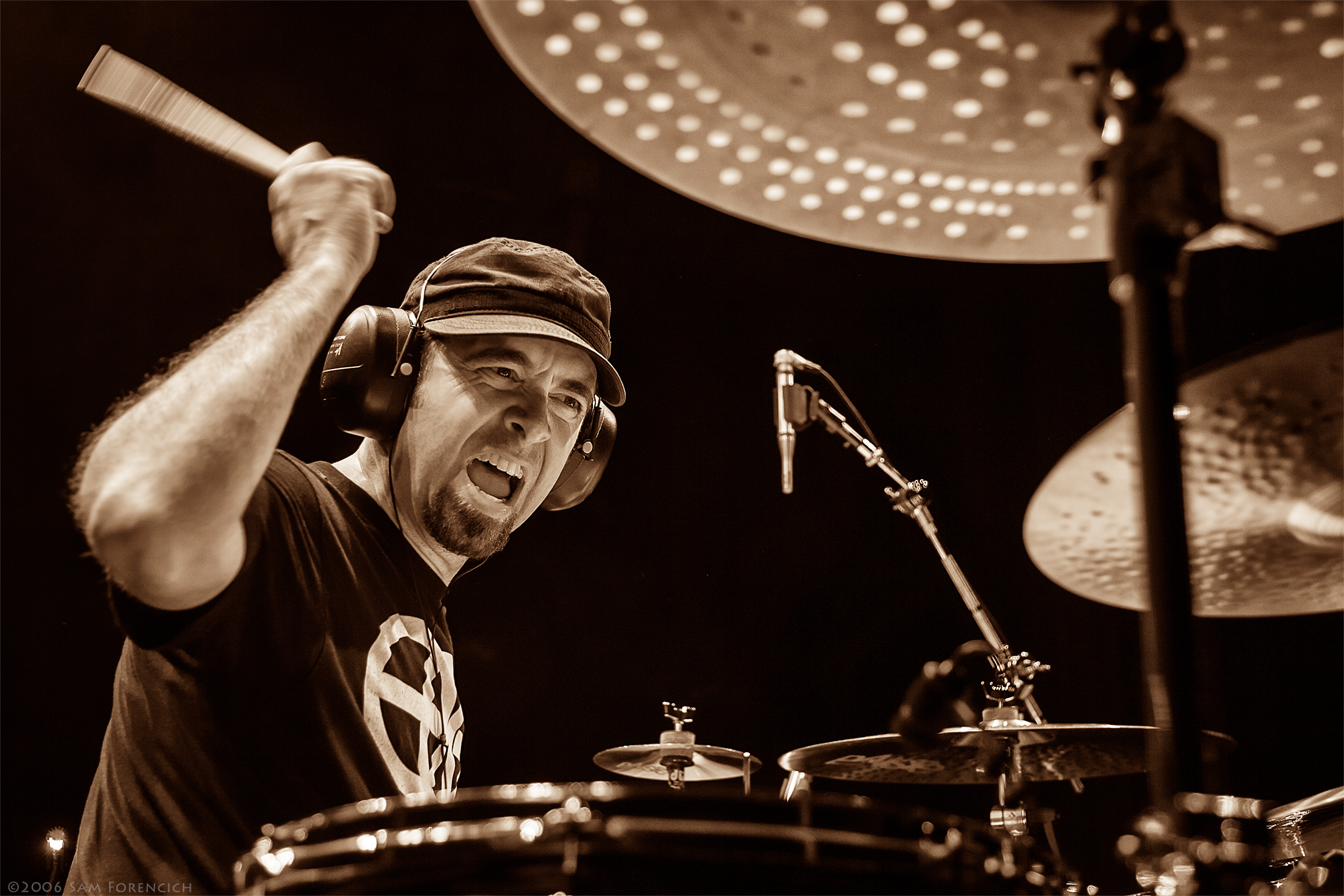 May 2006,Portland, Oregon - Joe Satriani drummer Jeff Campitelli performs at the Roseland Theater - 2006 Super Colossal Tour ©2006 Sam Forencich