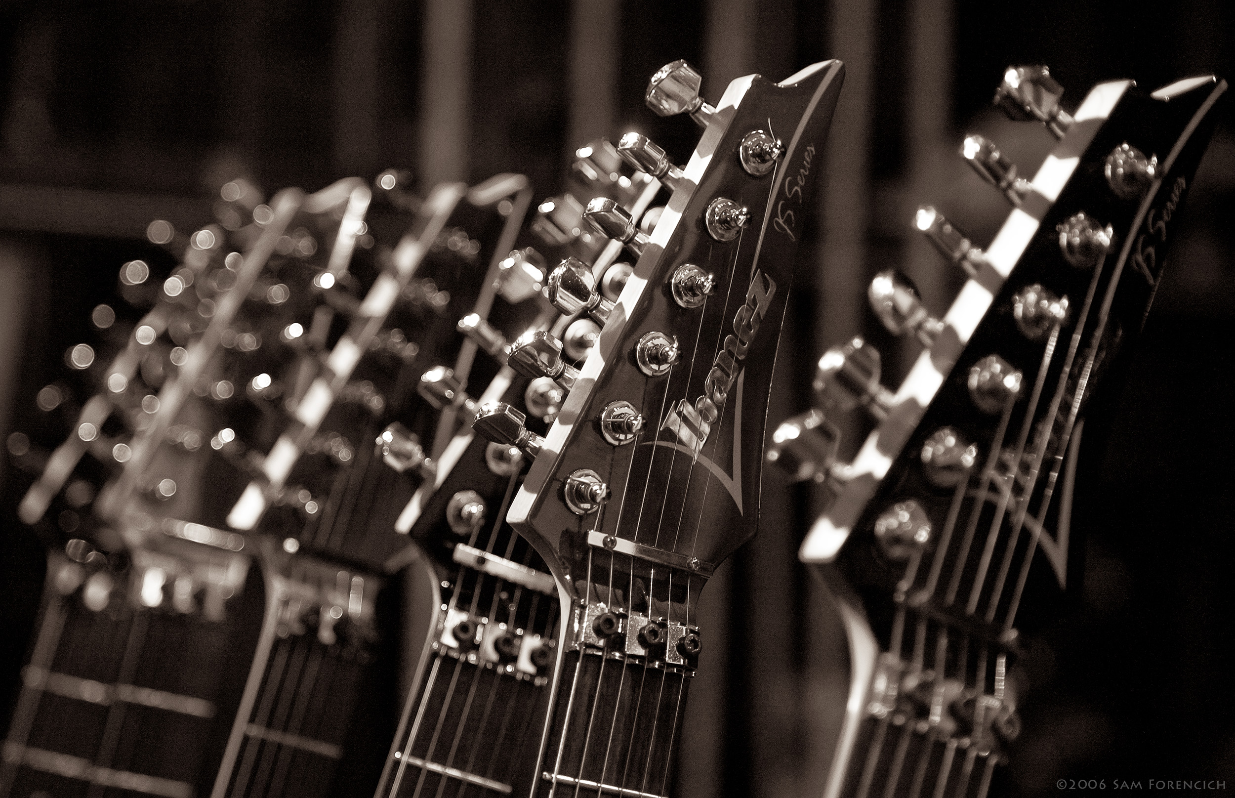 May 2006,San Francisco, California - Joe Satriani's guitars await the performance at the Warfield Theater - 2006 Super Colossal Tour ©2006 Sam Forencich